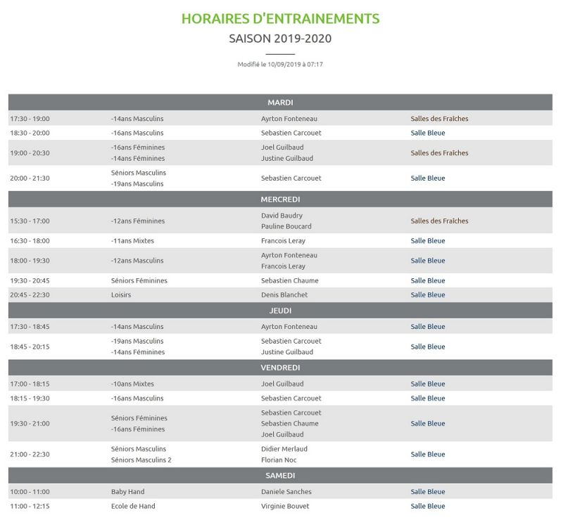 Modification des horaires d'entraînements