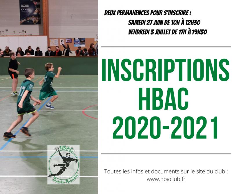 Inscriptions pour la saison 2020 - 2021